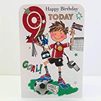 Jonny Javelin Boy Age 9 Birthday Card - Footballer