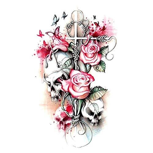 JUSTFOX - Temporäres Tattoo Totenkopf Rosen Design Temporary Klebetattoo Körperkunst