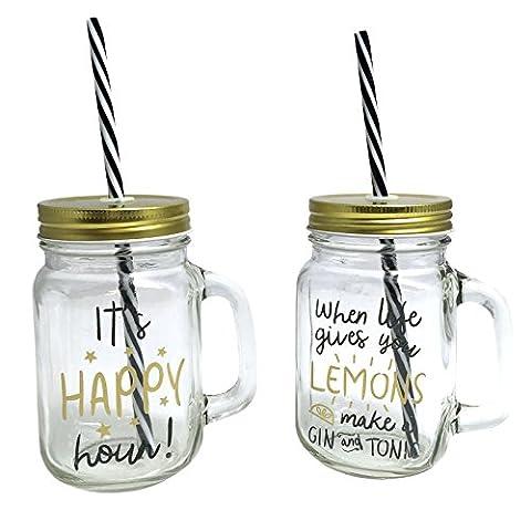 Just Contempo, Verre, 2 Gold Happy Glass Jar, 8 x 8 x 21 cm