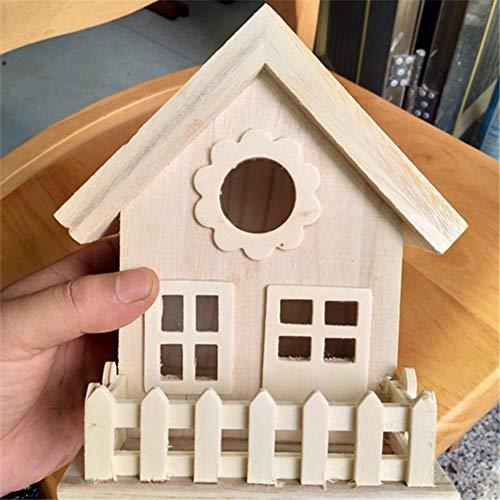Juman634 DIY Vogelhaus Vintage Nest Box Holz Nest Zucht Box Dach Dekoration Ornamente Montieren Vogel Kleiderbügel für Kleine Vögel -