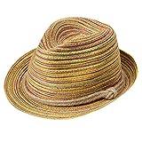 Mujeres Boho Sombrero Tejido de Paja Arco Iris Rayas Panamá Floppy Sombrero para el Sol Cuerda Decoración Étnico Playa Estilo de Vaquero Sombrero de Vacaciones (Mujer, Raya)