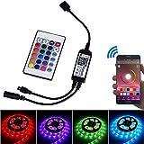 Arote Mini IR RGB Led Controller Bluetooth, Remote Controller Fernbedienung App gesteuert, Kontroller Dimmer, Wireless 24 Tasten, für Android IOS System 12V 24V Stripe Streifen