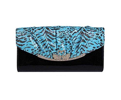Bag Nuova Catena Nuova Pelle Verniciata Busta Raccoglitore Della Signora Mano Blue