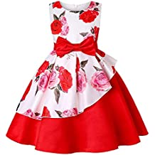 7dd52ef9b Vestido Niña POLP Vestido niñas Rojos 7 años Fiesta Elegantes Flores Boda  Casual Mujer Verano sin