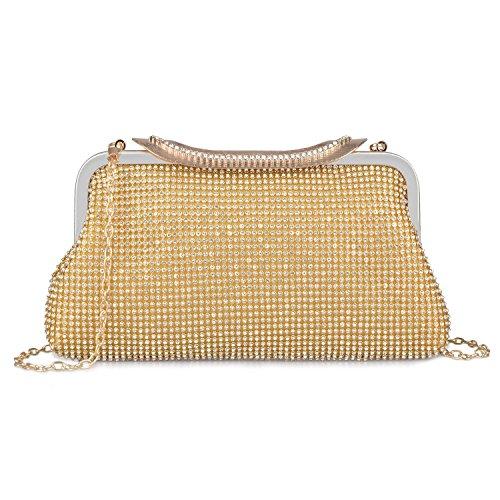 Damen Dazzling Crystal Strass Hochzeit Abend Handtasche Handtasche Taschen (Gold)