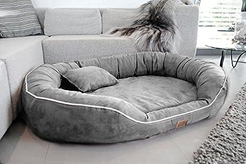 tierlando Ultimate MARLON Orthopedic Dog Bed mit Visco PLUS Mattress in Suede! SOFT Lounge! Sz. L XL XXL XXXL 85 cm to 220 cm - 06 Grey, L 85 x 65