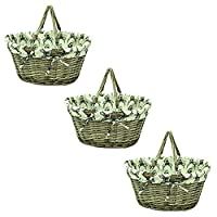 east2eden Brown Wicker Willow Shopping Hamper Basket with Stag Liner In Choice of Deals (Set of 3)