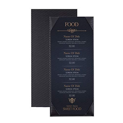 Speisekarte Abdeckungen für Speisekarten und Menükarten mit Sichtfenster, 30 x 13 cm, Schwarz, Schwarz