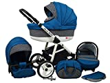 Kinderwagen BABYLUX ALU WAY INDYGO, 3 in 1- Set Wanne Buggy Babyschale,Muffe