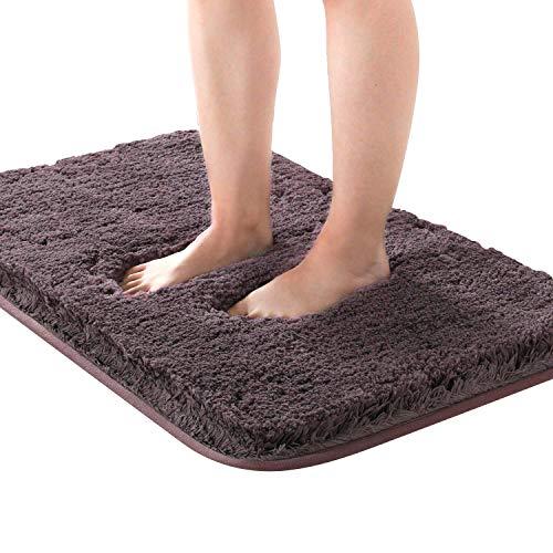 Kuyang Badematte Badteppich Badvorleger rutschfest Waschbar Badezimmerteppich Antirutsch Badteppiche Wasserabsorbierend Badematten Weiche Mikrofaser Bad Teppich 50x80 cm für Badezimmer