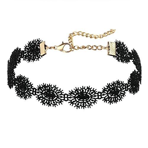 Daesar Choker Kette Damen Antik Spitze SonneBlume Tattoo Gothic Schwarz Choker Halskette, 29.5+7CM (Büste Vampire)
