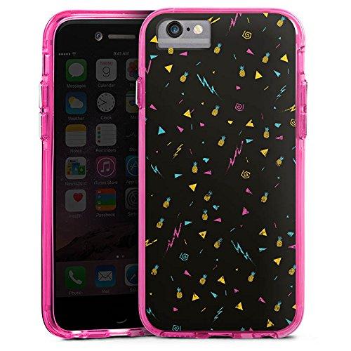 Apple iPhone 7 Plus Bumper Hülle Bumper Case Glitzer Hülle Ananas Pineapple Blitz Bumper Case transparent pink