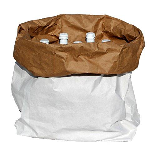 Flaschenbox f. Getränke (Wasser, Spirituosen & Wein aufbewahren) weiß/braun 1 Stück, Kraftpapier bis 25kg, 55x18x35cm (Schnaps-korb-ideen)