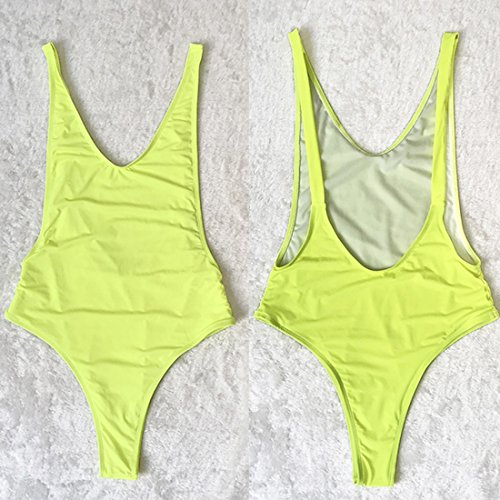 QIYUN.Z Frauen Tiefen V-Ausschnitt Rückenfreien Sommer Seaside Strand Einteilige Badeanzüge Bademode Leuchtendes Grün