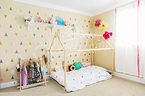 Sweet Home da letto in legno Montessori House, Natural, 200x90cm