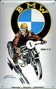 Moto bMW r 37 affiche publicitaire métallique rétro scooter metal d'indication