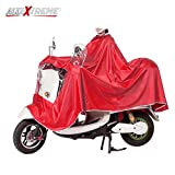 AllExtreme EX668RR Rain Coat Water Resistant Nylon PVC Hooded Full Body Raincoat Suit Motorcycle and Scooter Waterproof Poncho Jacket for Adults (Red)
