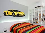 Yellow Hypercar Sports Car Printed Wall art sticker boys bedroom Decal room.S12 (YELLOW)