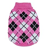 Wishwin Kleiner Hund Plaid Stil Pullover Strick Mantel-Kleid-dunkles Rosa