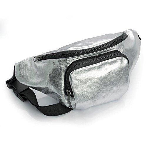 Metallic Gold oder Silber Bauchtasche mit Vortasche Festival Urlaub Tasche silber