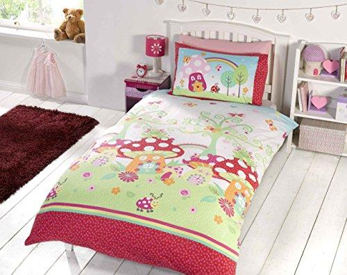 elinens Mädchen Enchanted Garden Bettwäsche-Set für Einzelbett, 135 x 200 - Teen Mädchen Bettwäsche Rosa