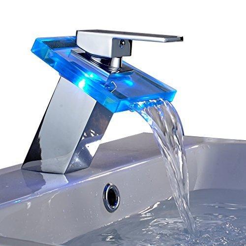 Preisvergleich Produktbild Auralum® Elegant LED RGB Glass Wasserhahn Armatur Chrom Wasserfall Waschtisch Waschtischarmatur für Bad Badezimmer Küchen 3 Farben