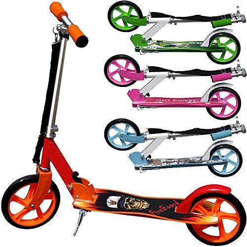 Deuba Scooter Roller Tretroller Cityroller | Wheel 205 mm PU-Rollen | klappbar | höhenverstellbar | Tragegurt | Seitenständer - 【Designwahl】