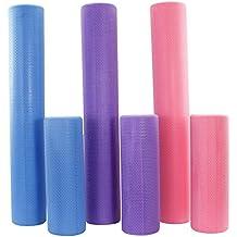 POWRX Yoga-Rolle / Pilates-Rolle / Schaumstoff-Rolle / Foam-Roller / Faszien-Training / Selbstmassagerolle 45 cm oder 90 cm x 15 cm Blau Lila Pink