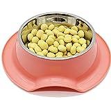 Doitsa 1pcs cuenco para perro cuenco de gato bebedero perro y gato antideslizante arroz cuenco productos para mascotas cuenco para perro (acero inoxidable cuenco de doble uso (rosa)