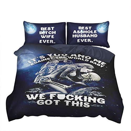 WONGS BEDDING 3D Sugar Skull Bettbezug It's You and Me Bettwäsche-Set, Gothic-Stil, 3-teilig, Bettbezug für Erwachsene und Jugendliche,135 * 200cm - Erwachsene Bettwäsche