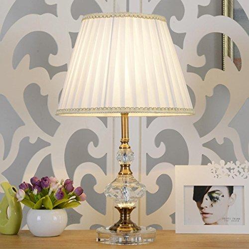 Manuelle Cristal Nachttischlampe mit runden Stoff Lampenschirm Dekorative Tischlampe für Schlafzimmer Baby Zimmer , White