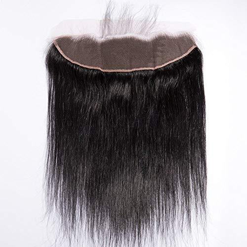Lace front closure human hair 35cm extension capelli veri matassa tessitura donna lisci umani con chiusure frontali nero naturale 13