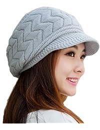 Krystle Women's|Girl's Winter Warm Knit Hat Wool Snow Ski Caps With Visor