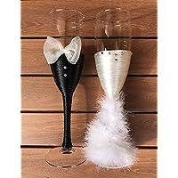 Copas decoradas para bodas y eventos- blanca y negra