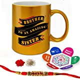 Indigifts Raksha Bandhan Gifts For Brother Brother To An Amazing Sister Quote Printed Gift Set Of Golden Mug 330 Ml, Crystal Rakhi For Brother, Roli, Chawal & Greeting Card - Rakhi Gifts For Brother, Rakhi For Brother With Gifts, Rakshabandhan Gifts