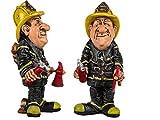 Feuerwehrmann - Lustige Berufe Figur als Geschenk, Mitbringsel für Abschluss, Geburtstag, usw. Detailierte Kunststein-Figur