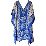 Classic Wear Women's Short Kaftan, V-Neck Kimono Tunic, Casual Dress One Size/Free Size Dress Gown Summer Beach Wear Maxi Free Size - Royal Blue