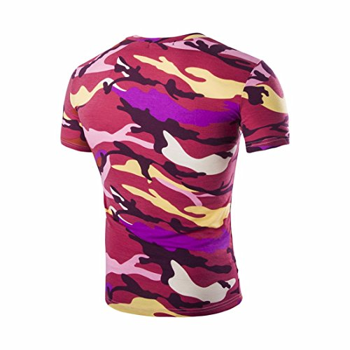 QIYUN.Z Männer Tarnung Kurze Hülse/Ärmel Hipster Camo T-Shirt Turnhalle Muskel-Shirts V Ansatz Roter Tarnung