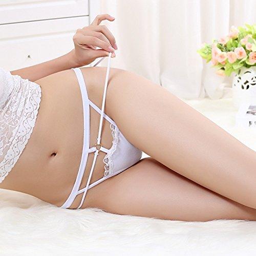 Bigood String à Ficelle Femme Slip Lingerie Erotique Culotte Ouverte Fesse Sous-vêtement Blanc