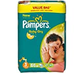 PAMPERS Baby-Dry Size 3 nappies (4-9 kg) - Value pack 1 x 66 nappies 81383394 (Pampers Baby-Dry keep your baby dry for up to 12 hours... )