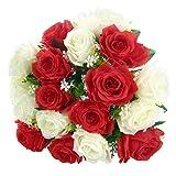 Soledì Fiori Finti Rosa 18 Rose Bouquet Fiori Artificiali per Decorazioni Interno Matrimonio (Bianco + Rosso)