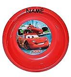 """Suppenschüssel / Müslischale / Suppenteller - incl. Name - """" Disney Auto Cars - Lightning McQueen """" - aus Kunststoff / Plastikteller Plastik - Geschirr für Kinder - Mc Queen Auto Jungen - Speiseteller Kinderteller"""
