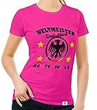 Damen T-Shirt - Weltmeister Deutschland 54 74 90 14 Fuchsia-Schwarz L