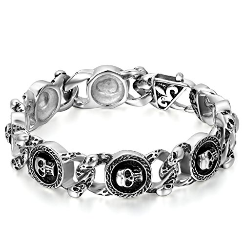 JewelryWe Schmuck Herren Armband, Edelstahl Retro Gotik Totenkopf Schädel Charm Link, Biker, Schwarz Silber (Halloween-2019 Die Letzten)