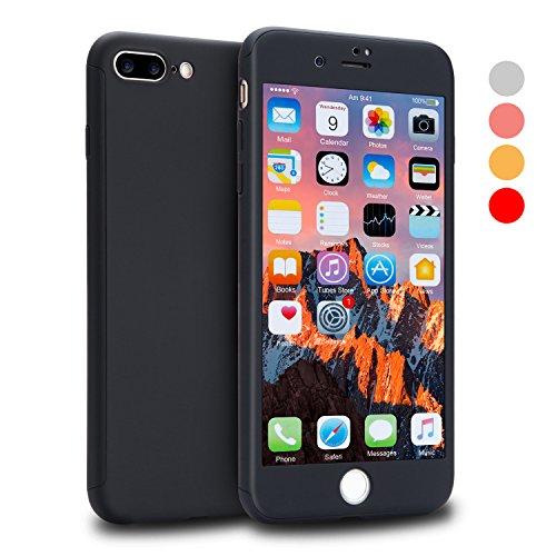EUNSOUL iPhone 7 Plus Hülle, iPhone 8 Plus Hülle, VANSIN 360 Grad Rundum Hard Slim Dünn Case [Inkl. 1X 9H Panzerglas] Komplettschutz Matte HandyHülle für Apple iPhone 7 Plus & iPhone 8 Plus - Schwarz Robustes Hard Case
