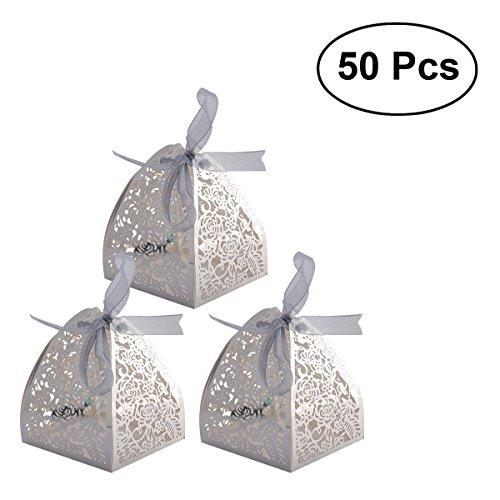 SUPVOX 50 Stücke Favor Boxen Kraft Süßigkeitskästen Hochzeitsbevorzugungskästen Craft Paper Für Geschenke Süßigkeiten für MiniGifts Macaron Cupcake Candy Cookies (Band Für Personalisiert Hochzeit Bevorzugungen)