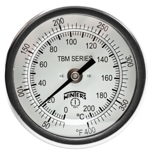 Winters TBM Series Stainless Steel 304 Dual Scale Bi-Metal Thermometer, 4 Stem, 1/2 NPT Fixed Center Back Mount Connection, 3 Dial, 50-400 F/C Range by Winters (Npt Back Mount)