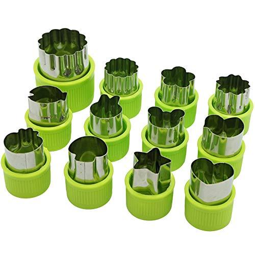 EXQUILEG 12 Stück Ausstechformen Plätzchen Ausstecher, Gemüse Obst Blumen Cutter Edelstahl Form für Keks Ausstecher, Schneiden Gemüse, Obst und Plätzchen (Grün)