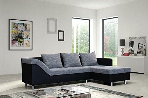 Sofa Couch Ecksofa Eckcouch Sofagarnitur in schwarz / hellgrau – Lissabon 1- R