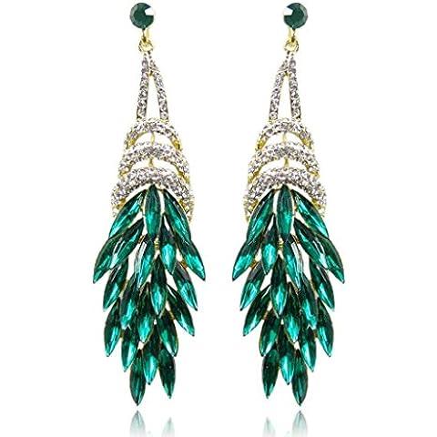 EVER FAITH® Fiore Foglia Bouquet Teardrop orecchino di cristallo verde austriaca